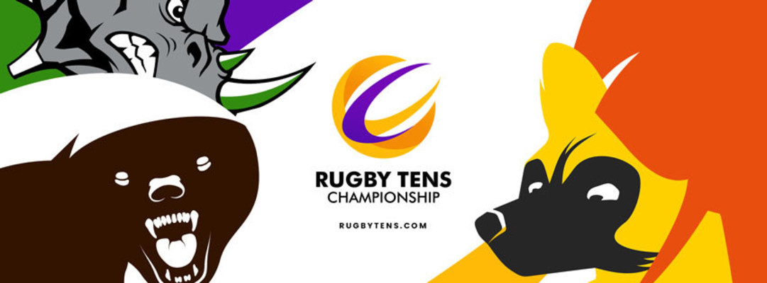 Rugby Tens Championship logo composite including: San Clemente Rhinos, Balkans Honey Badgers, Serengeti Elephants, and Cape Town Wild Dogs.